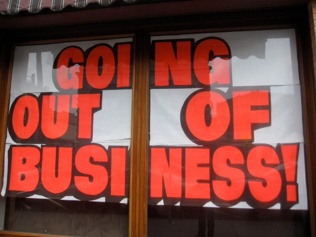 out of business 1024x768 - Ko javnost pogleda stran, neumnosti prihajajo na plan