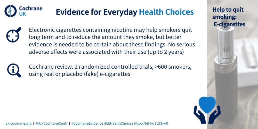 Nova Cochrane študija ugotavlja neposredno povezavo med uporabo e-cigaret in uspešnim opuščanjem kajenja